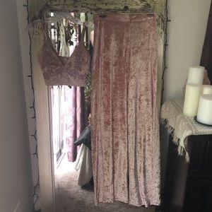 NWT PRETTYLITTLETHING Crushed Velvet Set S